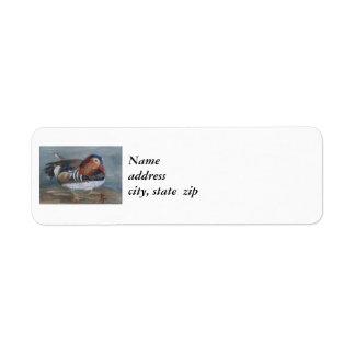 Etiquetas del remite del pato de mandarín etiqueta de remite
