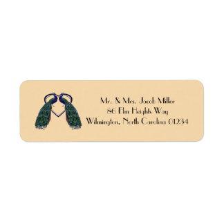 Etiquetas del remite del pavo real del vintage etiquetas de remite