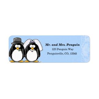 Etiquetas del remite del pingüino de novia y del n etiqueta de remite