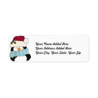 Etiquetas del remite del pingüino del navidad etiquetas de remite