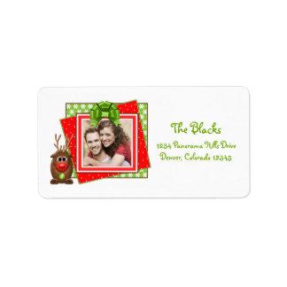 Etiquetas del remite del reno del navidad del dibu etiqueta de dirección