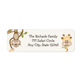Etiquetas del remite del safari de selva etiquetas de remite