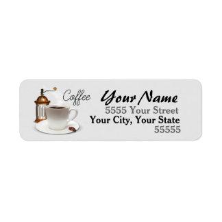 Etiquetas del remite del tiempo del café etiqueta de remitente