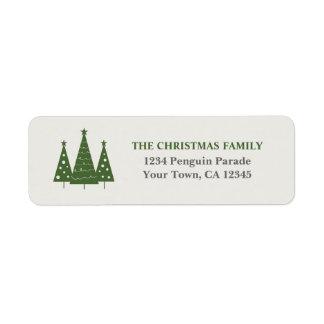 Etiquetas del remite del trío del árbol de navidad etiqueta de remite