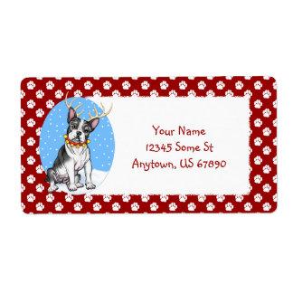 Etiquetas del reno de Boston Terrier Etiquetas De Envío