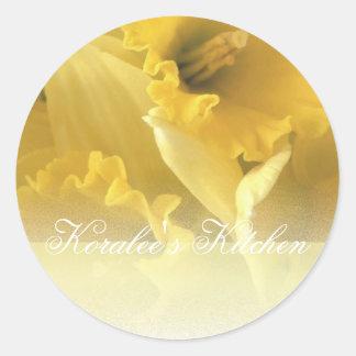 Etiquetas del tarro de la especia de los narcisos pegatina redonda