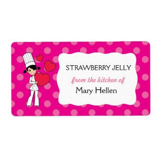 Etiquetas del tema del cocinero del chica para el etiquetas de envío