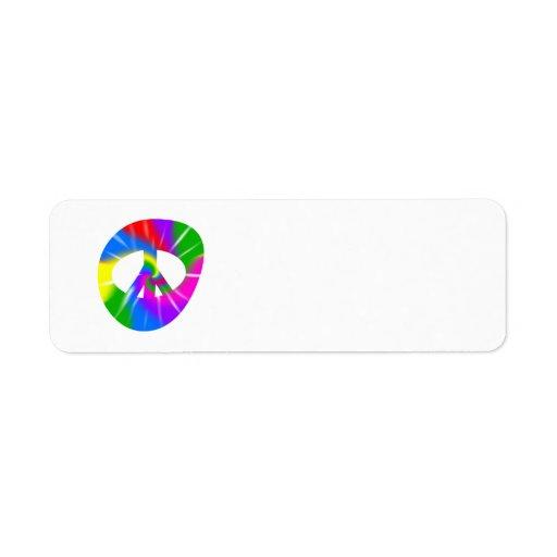 Etiquetas del teñido anudado del signo de la paz etiquetas de remite