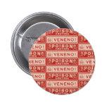 Etiquetas del veneno del vintage pin redondo de 2 pulgadas
