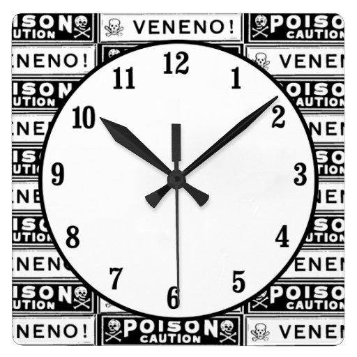 Etiquetas del veneno del vintage reloj cuadrado