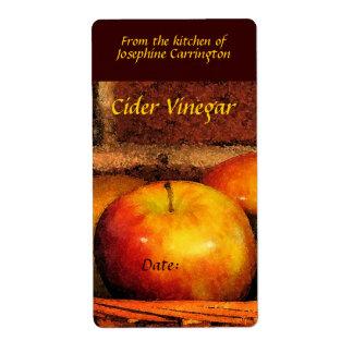 Etiquetas del vinagre de sidra etiquetas de envío