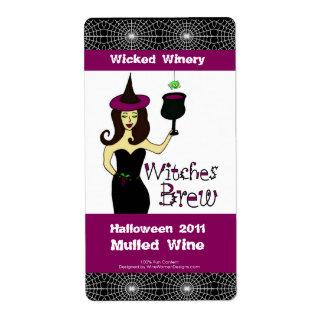 Etiquetas del vino de Halloween Brew de las brujas Etiquetas De Envío
