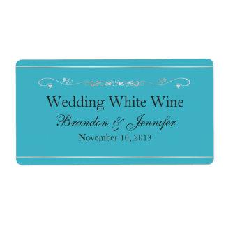 Etiquetas del vino de las azules turquesas y de la etiquetas de envío