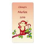 Etiquetas del vino de Red Monkey Etiqueta De Envío
