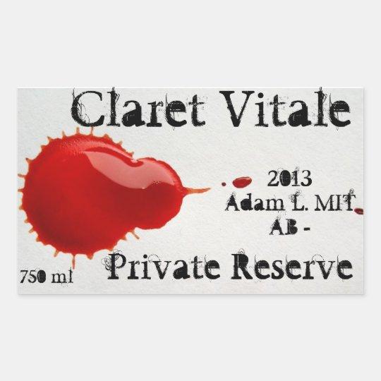 Etiquetas del vino de Vitale del clarete Pegatina Rectangular