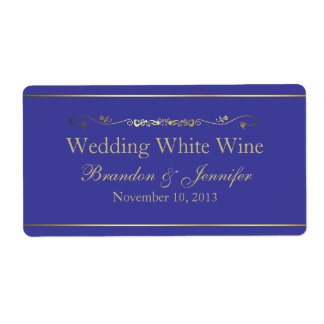 Etiquetas del vino del boda de encargo del azul y  etiquetas de envío