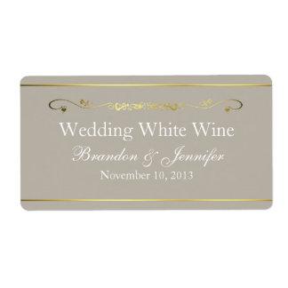 Etiquetas del vino del boda de encargo del moreno  etiquetas de envío