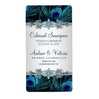 Etiquetas del vino del boda del pavo real etiqueta de envío