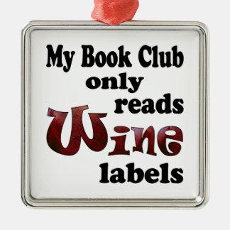 Etiquetas del vino del círculo de lectores adorno navideño cuadrado de metal
