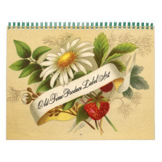Etiquetas del vintage de la fruta y verdura calendario