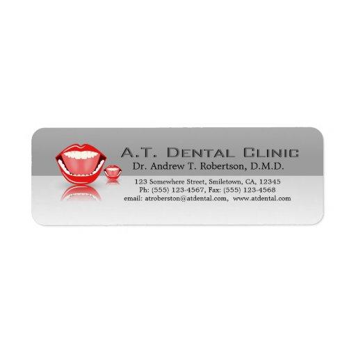 Etiquetas dentales profesionales del remite de la etiquetas de remite