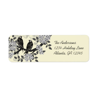 Etiquetas dibujadas mano de las flores de los pája etiqueta de remite