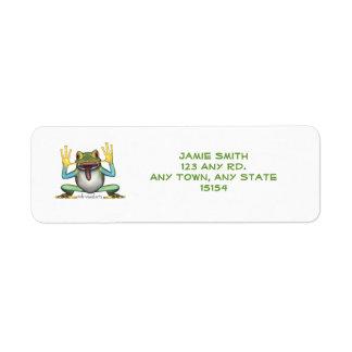 Etiquetas divertidas del remite de la rana etiquetas de remite