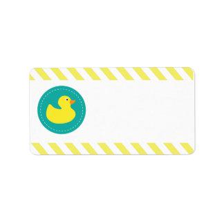 Etiquetas Ducky de goma del espacio en blanco Etiquetas De Dirección