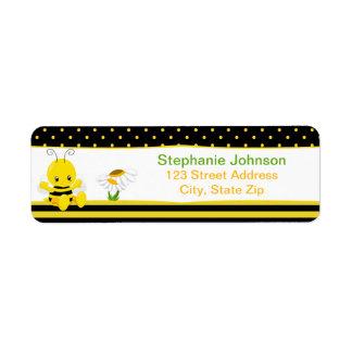 Etiquetas dulces del remite de la abeja del bebé etiqueta de remitente