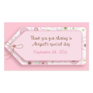 Etiquetas dulces rosadas del favor del lunar del c tarjeta de visita