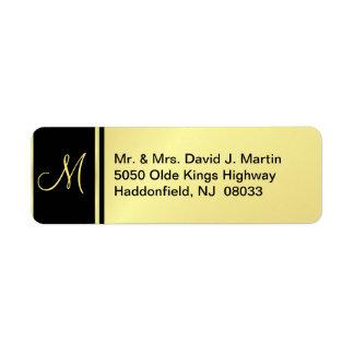 Etiquetas ejecutivas del monograma - oro y negro etiquetas de remite