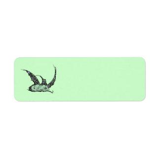 Etiquetas el dormir Dragonette (verde) Etiquetas De Remite