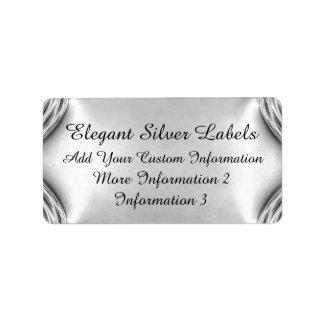 Etiquetas elegantes de la plata etiquetas de dirección