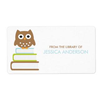Etiquetas elegantes de los Bookplates del búho Etiqueta De Envío