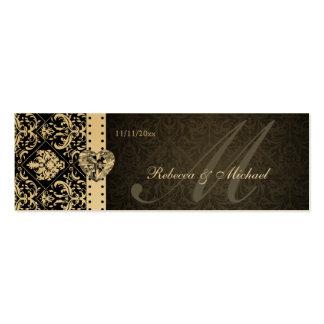 Etiquetas elegantes del favor del damasco del negr tarjeta de visita