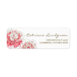 Etiquetas elegantes del remite de los Peonies rosa Etiquetas De Remite