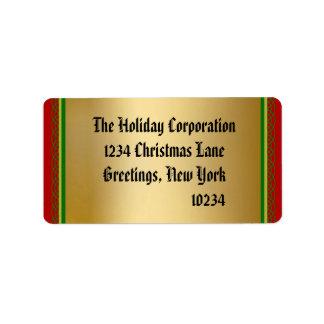 Etiquetas elegantes del remite del navidad del oro etiqueta de dirección