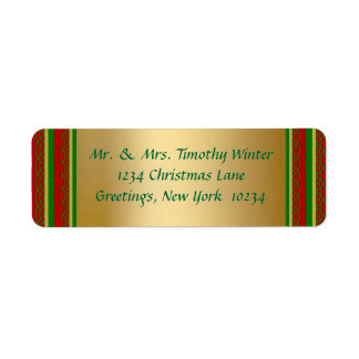 Etiquetas elegantes del remite del navidad del oro