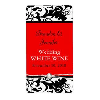 Etiquetas elegantes del vino del boda del damasco etiquetas de envío