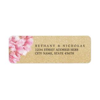 Etiquetas elegantes florales/Champán del remite Etiqueta De Remitente