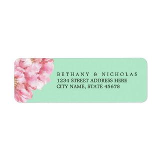 Etiquetas elegantes florales/menta del remite etiqueta de remitente