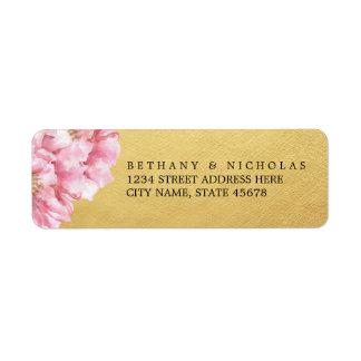Etiquetas elegantes florales/oro del remite etiquetas de remite