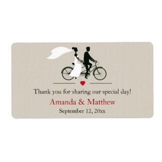Etiquetas en tándem del favor del boda de la bicic etiqueta de envío