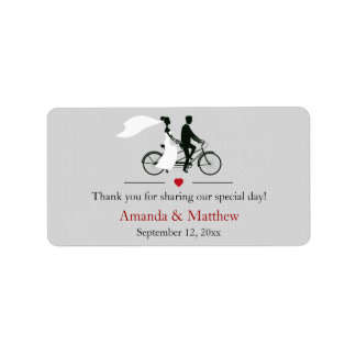 Etiquetas en tándem del favor del boda de la bicic etiquetas de dirección