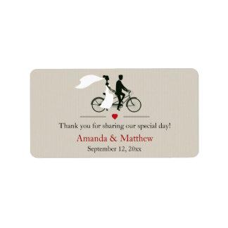 Etiquetas en tándem del favor del boda de la bicic etiqueta de dirección