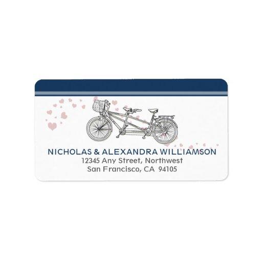Etiquetas en tándem del remite de la bicicleta (ma etiqueta de dirección
