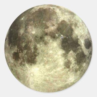 Etiquetas engomadas de la Luna Llena Pegatina Redonda