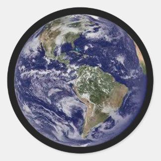 Etiquetas engomadas redondas de la tierra llena pegatina redonda