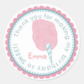 Etiquetas engomadas rosa y azul del caramelo de pegatina redonda