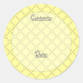 Etiquetas entrecruzadas del color/de la comida y pegatina redonda